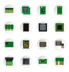 computer chips icons set in flat style vector image