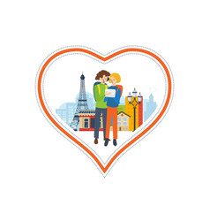 concept - a trip to france love city vector image