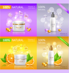 Cream natural series banners set cosmetic tubes vector