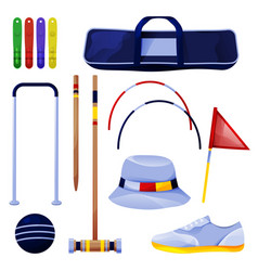 croquet equipment game tool collection icons set vector image