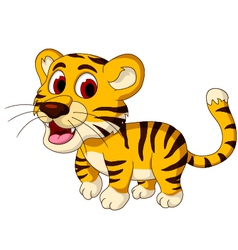 Cute baby tiger walking vector