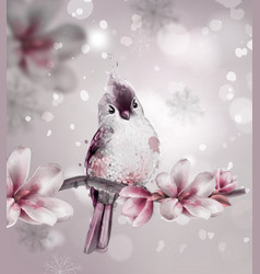 cute pink bird on a branch with magnolia flowers vector image