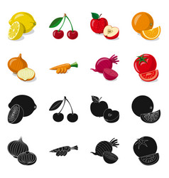 Design of vegetable and fruit logo set of vector