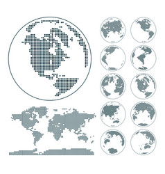 digital earth globes set and world map vector image