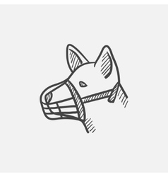 Dog with muzzle sketch icon vector image