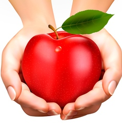 Ed ripe apple in a hands concept diet vector