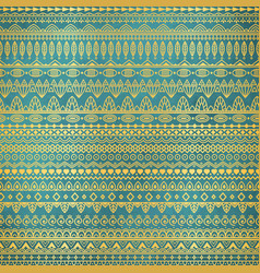 ethnic golden pattern on teal grunge background vector image
