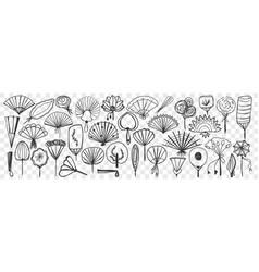 fan accessories hand drawn doodle set vector image