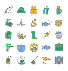 Fishing color icons set vector