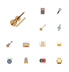 flat icons banjo knob musical instrument and vector image