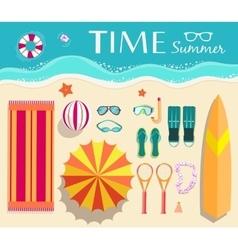Flat summer vacation supplie on landscape vector
