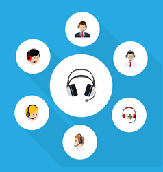 flat telemarketing set of help call center vector image