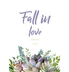 Floral card design with succulent cactus plants vector