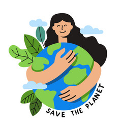 girl hugs planet earth on white vector image