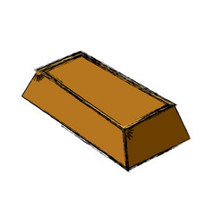 Gold ingot isolated vector