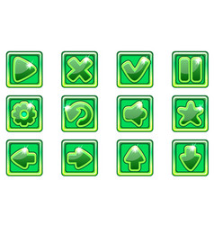 green square collection set glass buttons vector image