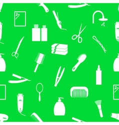Hair care theme green and white seamless pattern vector