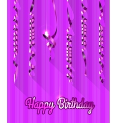 Happy Birthday Background with Gold Streamers vector image vector image