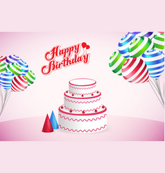 happy birthday party template design background vector image