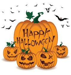Happy Halloween Pumpkin Set and Bats in sky on vector image