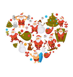 Happy new year cartoon santa celebrating holidays vector