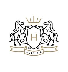 horse coat arms heraldic logo icon vector image
