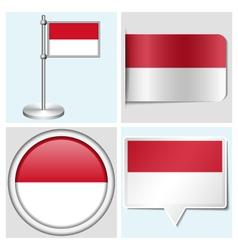 Indonesia flag - sticker button label flagstaff vector