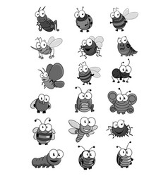 Insects and bugs cartoon comic icons set vector