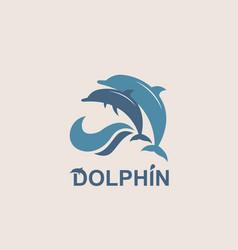jumping dolphin emblem vector image