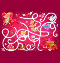 kids maze game valentines day labyrinth vector image