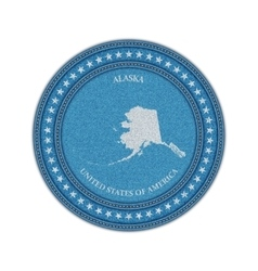 Label with map of alaska Denim style vector image