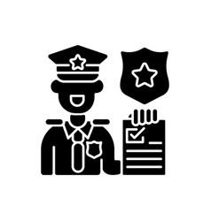 Law enforcement black glyph icon vector