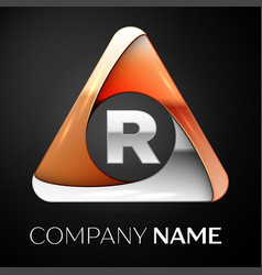 Letter r logo symbol in the colorful triangle on vector