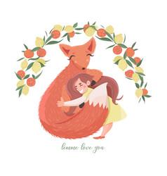 little girl hugging fox under lemon and orange vector image