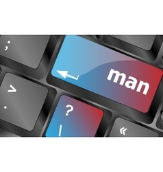 Man words on computer pc keyboard keys keyboard vector