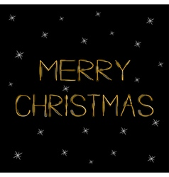 Merry Christmas Gold text Greeting card Sprkles vector image