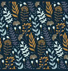 Modern seamless pattern with wild floral elements vector