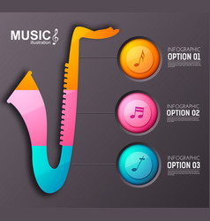 Music instrument infographic template vector