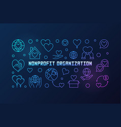 Nonprofit organization colorful linear vector