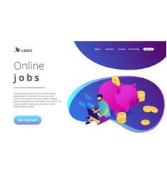Online jobs isometric 3d landing page vector