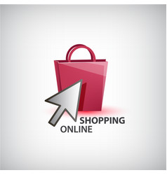 Online shopping logo isolated vector