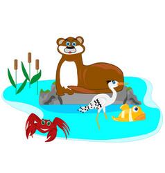Otter in lake vector