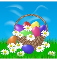 Painted eggs in a basket and daisies vector image