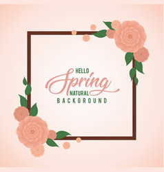 Peach rose water color frame spring background vector