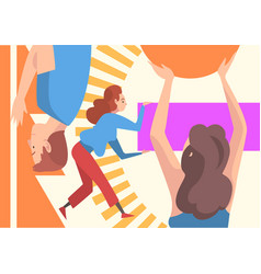 People organizing colorful abstract geometric vector