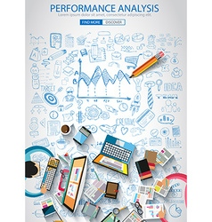Performance analysis concet with doodle design vector