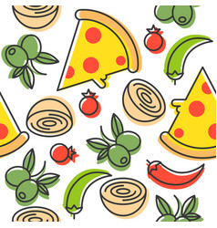 Pizza and ingredients seamless pattern outline vector