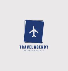 Plane travel agency logo design vector