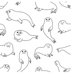 pretty seals seamless pattern marine vector image