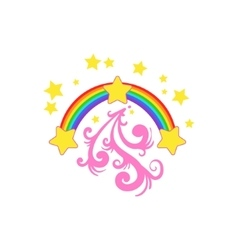 Rainbow And Stars Drawing vector
